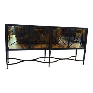 A Caracol Furniture; Italian Smoke & Mirror Console For Sale