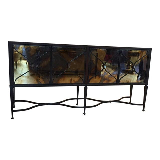 A Caracol Furniture; Italian Smoke & Mirror Console For Sale