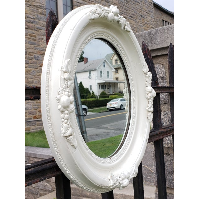 Very sweet antique carved wood Shabby chic style mirror with leaf and berries motif. The glass mirror was I believe...