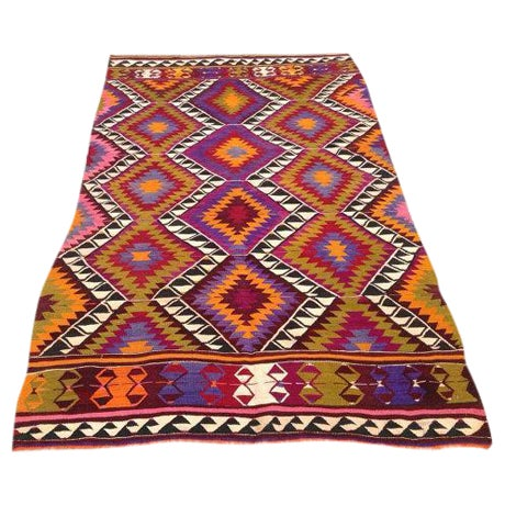 Vintage Turkish Kilim Rug - 4′5″ × 7′6″ - Image 1 of 6