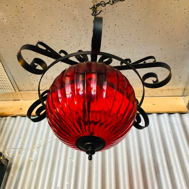 Vintage 1970's Red Swag Lamp For Sale - Image 4 of 7