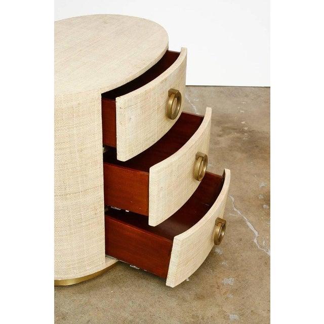 Raffia Grasscloth Clad Oval Three-Drawer Dresser Nightstand - Image 6 of 11