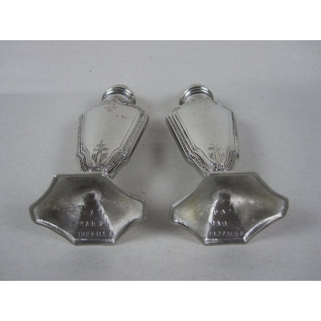 Silver Art Deco Salt & Pepper Shakers- A Pair For Sale - Image 8 of 8