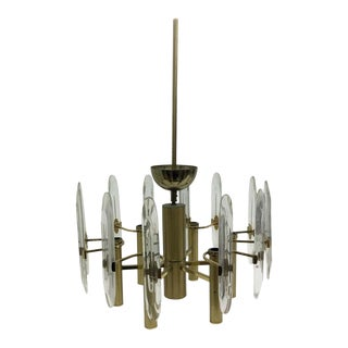 1960s Italian Mid-Century Modern Brass and Glass Chandelier For Sale