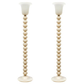 Murano Glass Ivory and Gold Floor Lamps For Sale