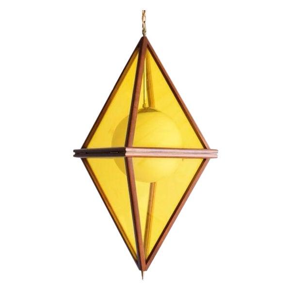 Mid-Century Teak & Yellow Pendant Light - Image 1 of 11