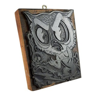 Printing Block of Angry Owl & Skull & Crossbones For Sale