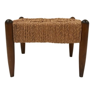 1970s Vintage Woven Foot Stool