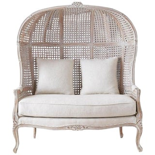 French Louis XV Style Hooded Balloon Canopy Porter's Settee For Sale