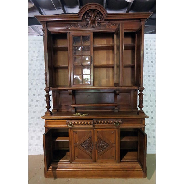 Early 20th Century Antique Renaissance Style China Cabinet - 2 Pieces For Sale - Image 4 of 6