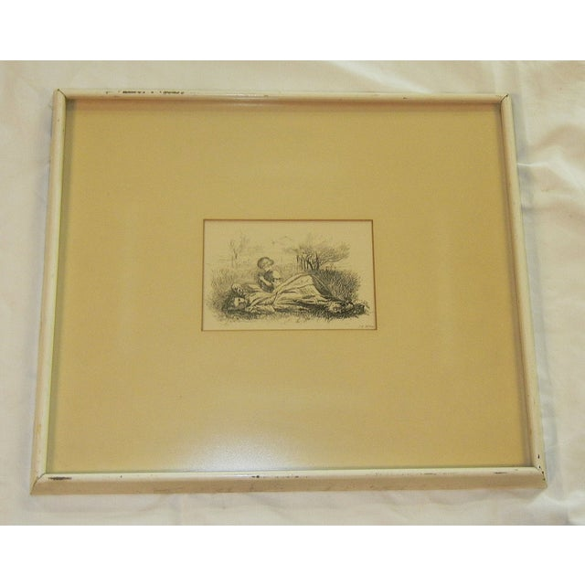 """Mid 19th Century Mid 19th Century Antique Sir John Everett Millais """"Summer Indulgence"""" Black and White Etching Print For Sale - Image 5 of 7"""