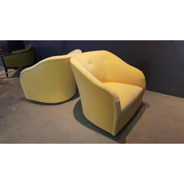 Fully Restored 1960s Vintage Ward Bennett Canary Yellow Velvet Swivel Chairs - a Pair - Image 4 of 11