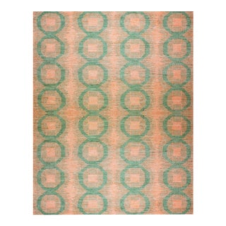 """Aara Rugs Inc. Hand Knotted Natural Wool & Cotton Ikat Rug - 9'2"""" X 12'2"""" For Sale"""
