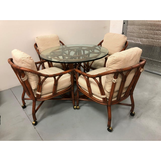 Ficks Reed Rattan Bent Bamboo Leather Bound Dining Set - 5 Pieces For Sale - Image 9 of 9