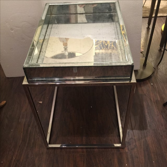 Antique Mirror & Chrome Occasional Table - Image 2 of 6