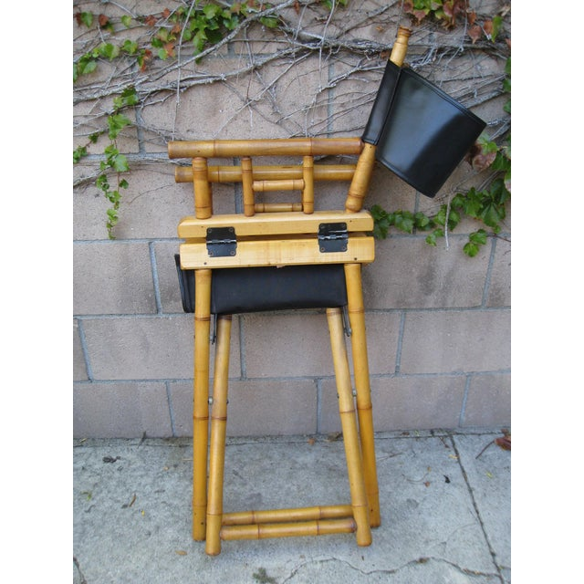 Black 1960s Vintage Bamboo & Leather Folding Director's Chair For Sale - Image 8 of 11