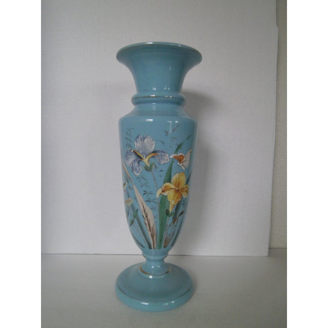 Large Robins Egg Blue Bristol Glass Vase - Image 2 of 7