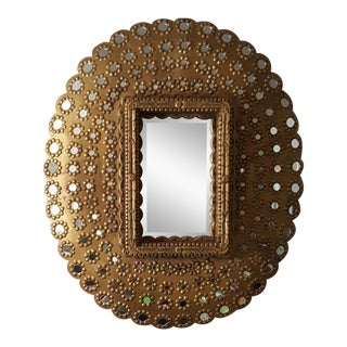 Modern Gold Wood Peacock Mirror For Sale