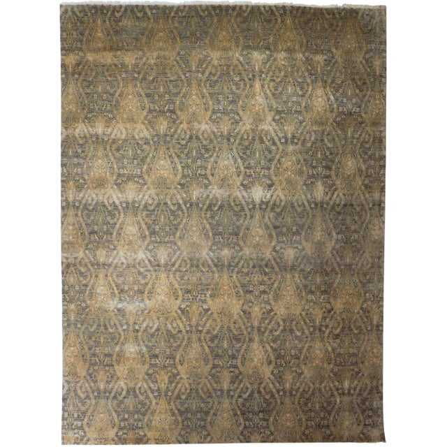 Hand Knotted Indian Ikat Rug - 9′ × 12′ For Sale