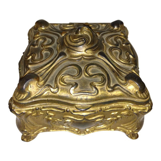 Antique Art Nouveau Jennings Brothers Jewelry Casket For Sale