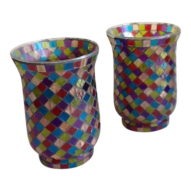 Moroccan Mosaic Glass Candle Votives - A Pair - Image 1 of 8