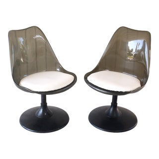 1970's Space Age Modern Smoke Lucite Tulip Chairs - a Pair For Sale