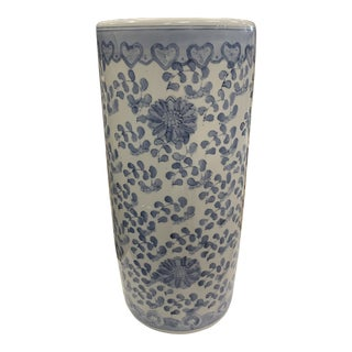 Chinoiserie Blue and White Ceramic Umbrella Stand For Sale