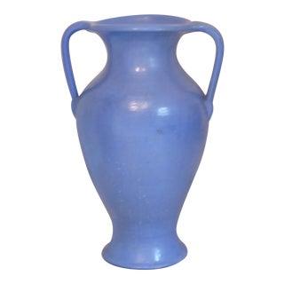 Vintage Rustic Periwinkle Glazed Urn For Sale