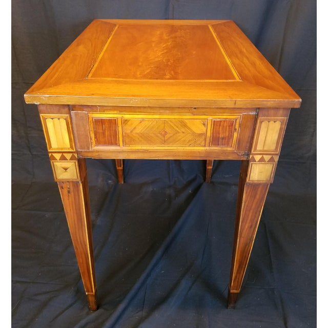 Early 19th Century Italian Neo Classic Parquetry Inlaid Writing Table. For Sale - Image 5 of 9