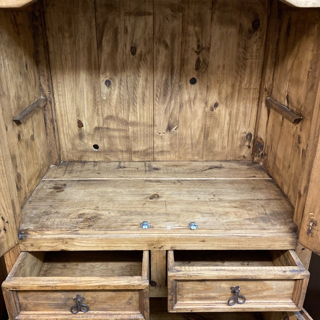 Late 20th Century Rustic Pine Armoire For Sale - Image 9 of 13