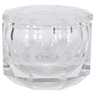 1970s Alessandro Albrizzi Clear Faceted Lucite Ice Bucket For Sale