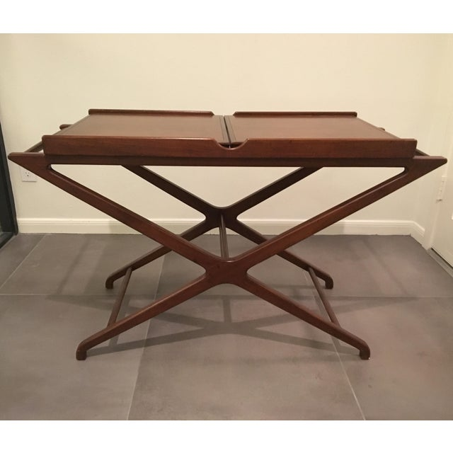 1950s Mid-Century Modern Cesare Lacca for Baker Furniture Walnut Bar Cart For Sale - Image 9 of 9