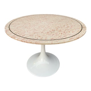 Pink Belgian Stone /Brass Inlay Top Round Table- MCM For Sale