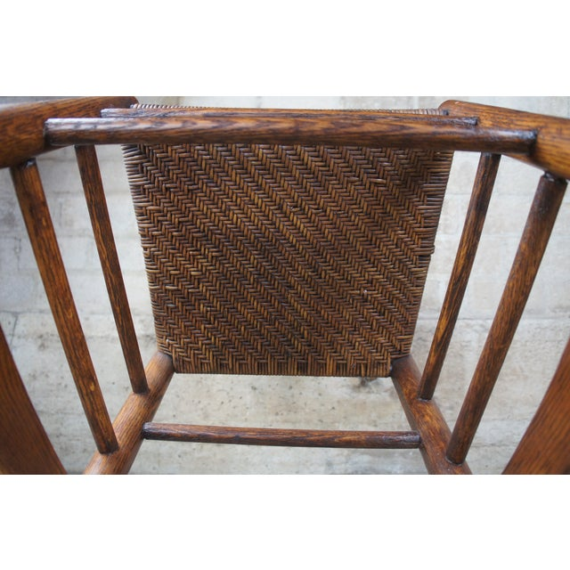 Brown Antique Arts & Crafts Oak & Rattan Rocking Chair For Sale - Image 8 of 9