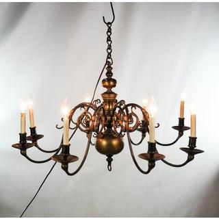 19th Century Antique Solid Brass Dutch 8 Light Chandelier Preview