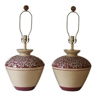 Decorative Porcelain Lamps - a Pair For Sale