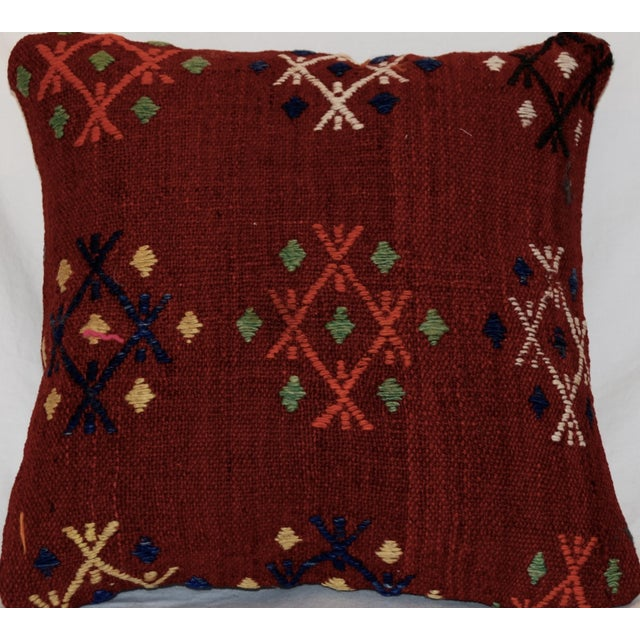 This is a handmade knotted antique kilim pillow measuring 15 inch by 15 inch. Please note that the insert is included with...