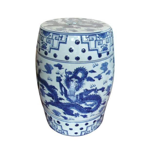 This listing is for a classic blue and white garden stool. This piece features a dragon motif. Color: Blue and White...