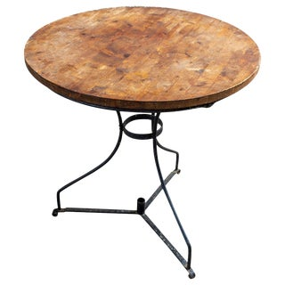 Vintage French Iron and Wood Garden Table For Sale