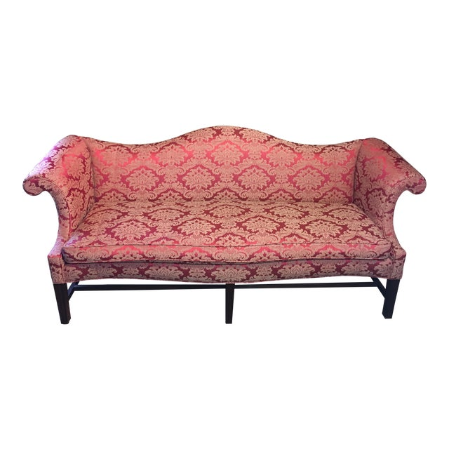 20th Century Red Damask Camelback Sofa For Sale