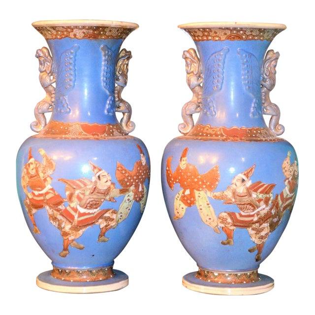 Antique Japanese Blue Satsuma Samurai Vases - a Pair For Sale