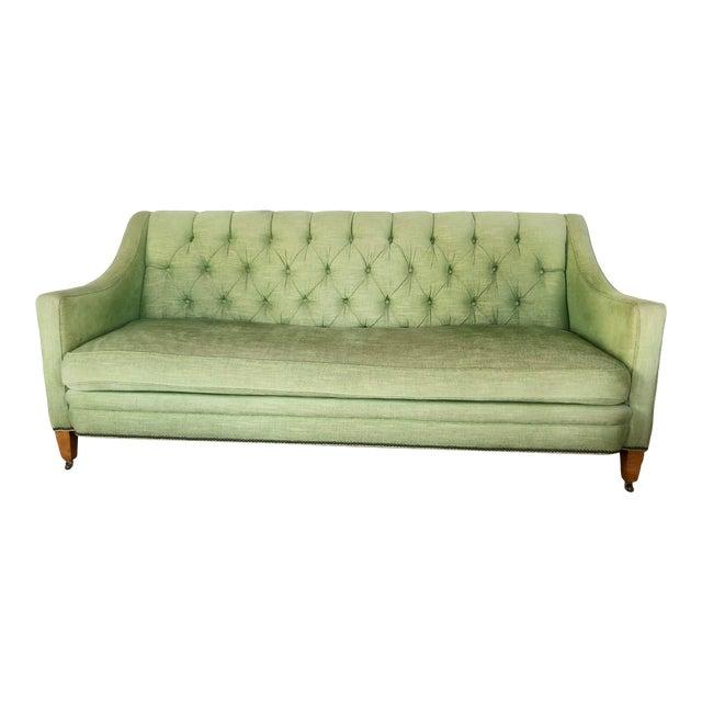 1980s Vintage Tufted Sleigh Back Sofa For Sale