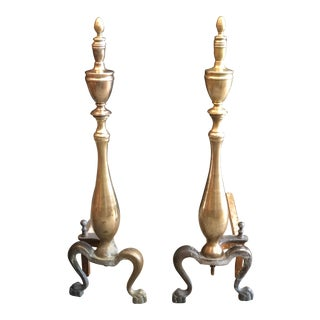 Solid Brass English Andirons For Sale