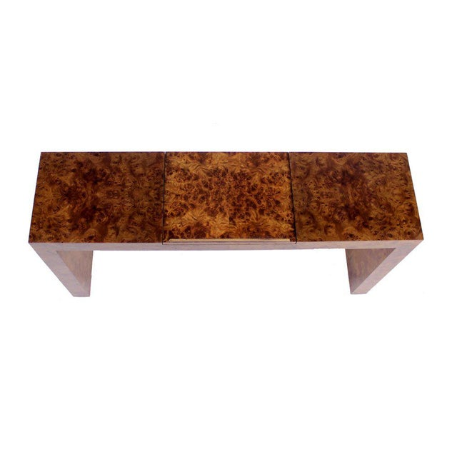 Mid Century Burl Wood Walnut Adjustable Lift Tilt Top Console Table For Sale - Image 4 of 10