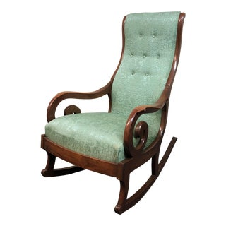 Vintage Edwardian Teal Upholstered Rocking Chair
