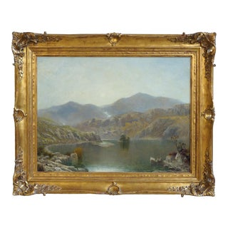 """19th Century """"Morning in Wales"""" Landscape Oil Painting on Canvas by J. P. Poltitt For Sale"""