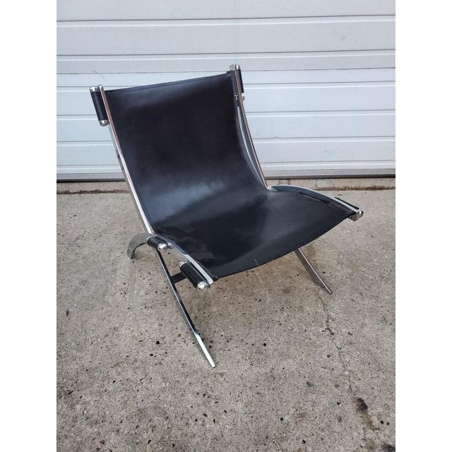 Mid-Century Modern Mid Century Modern Antonio Citterio for Flexform Chrome and Leather Lounge Chair For Sale - Image 3 of 10