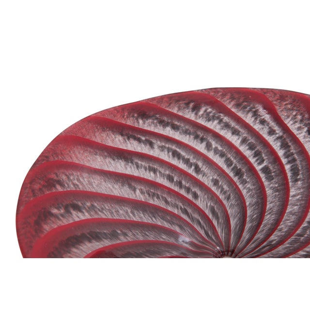 Footed Red Art Glass Spiral Dish - Image 3 of 6