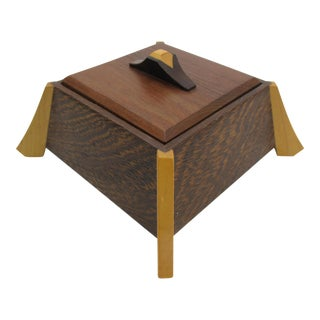 Late 20th Century Vintage Larry Dern Wenge & Hardwood Chinoiserie Jewelry Box For Sale