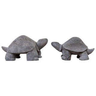 Pair of Carved Stone Turtle Sculptures For Sale